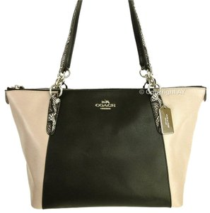 Coach Ava Snakeskin Embossed Tote in Black and Taupe