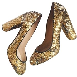 J.Crew Holiday Sequin Gold Christmas Gold Silver Pumps