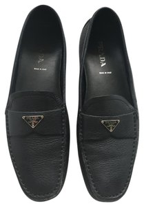 Prada Leather Loafers Comfortable Luxury Navy Blue Flats