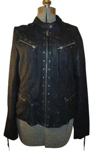 Wilsons Leather Leather Studded Nubuck black Leather Jacket