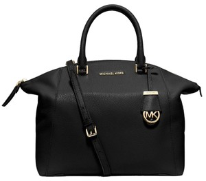 Michael Kors Riley Medium Pebbled Leather Top Zip Closure / Satchel in Black / Gold