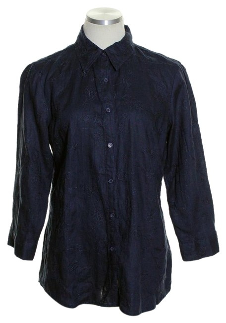 Item - Blue Linen Embroidered Floral 3/4 Sleeve Button-down Top Size 8 (M)