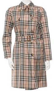 Burberry Nova Check Plaid Longsleeve Trench Coat
