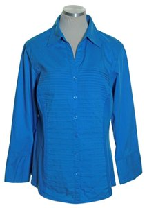 dressbarn Button Down Shirt Blue