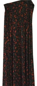 LuLaRoe Maxi Skirt Black with red and green roses