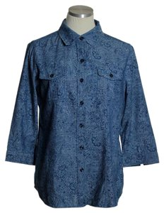 Chico's Button Down Shirt Blue
