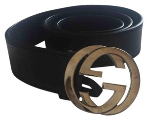 Gucci Gucci Black Leather Belt with Interlocking