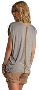 Maggie Ward With Leather Scop Neck Sleveless Top Stone