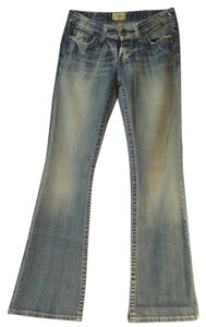 BKE Distresed Boot Cut Jeans-Light Wash