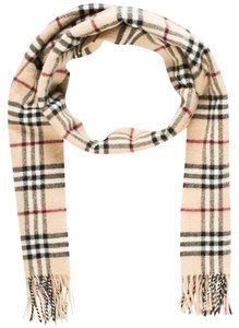 Burberry Tan, black, red Burberry Nova Check print wool scarf
