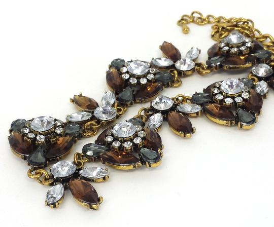 Other Gold & Brown Jeweled Statement Necklace