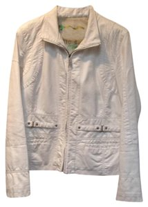 Faux Leather Silver Hardware White Leather Jacket