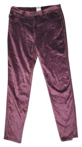 Moschino Velvet Merlot Stretch Velour Skinny Pants Purple