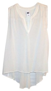NSF Silk Split Collar Sleeveless Silk White Silk Top Off-White