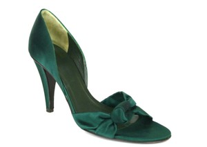 Céline Green Silk Satin Mules Sandals DARK GREEN Pumps