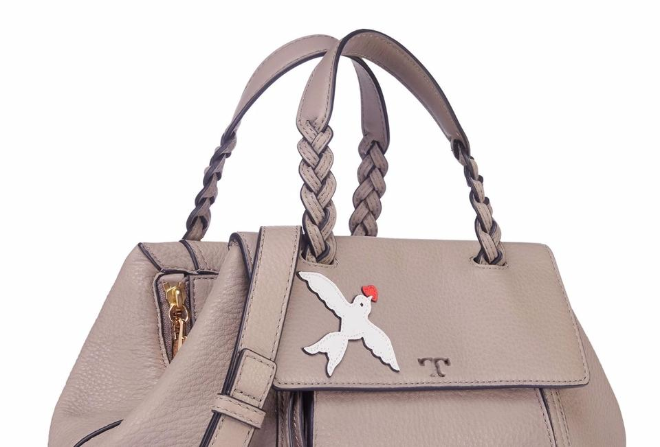 6da6460a0b4d Tory Burch Half-Moon Peace Embellished Small French Gray Satchel - Tradesy