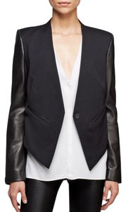 Helmut Lang Leather Smoking Tuxedo Black Blazer