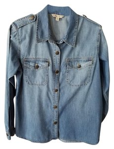 CAbi Western Brass Buttons Button Down Shirt Denim
