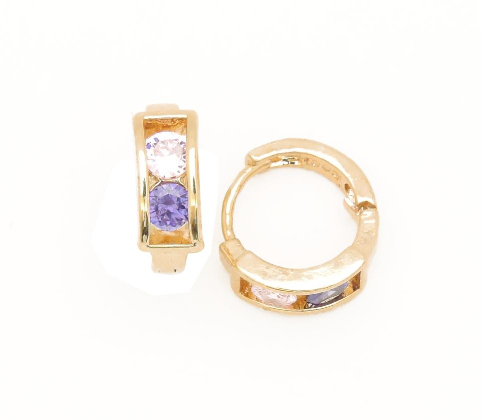 Other Gold Filled Round Huggie Clear Purple Cubic Zirconia Earrings