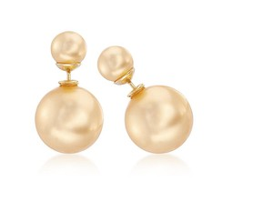 Ross-Simons Golden Shell Pearl Front-Back Earrings in 14kt Gold Over Sterling
