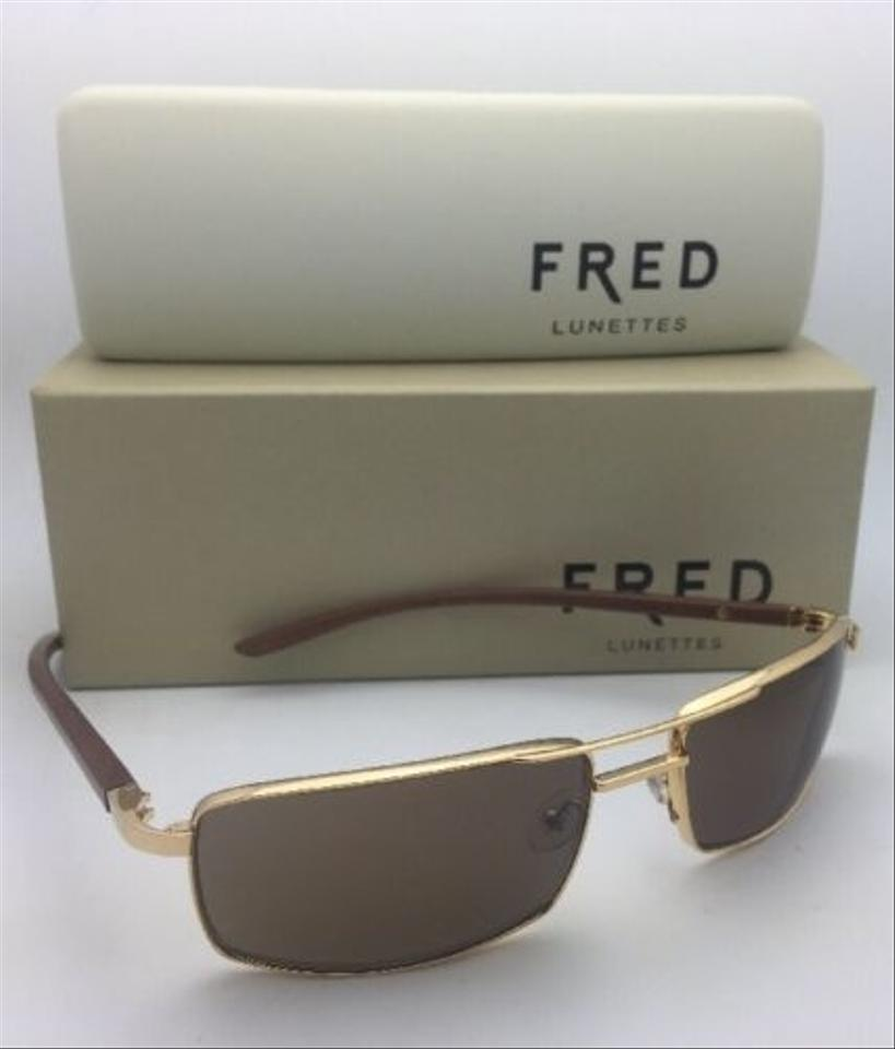 Fred Lunettes New Ellesmere Sun 206 C1 Gold Plated Aviator W  Wood W ... b323c842c5e0