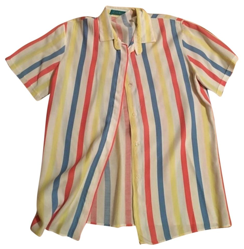 Cacharel red white blue yellow striped blouse by button for Red blue striped shirt