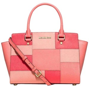 Michael Kors Saffiano Leather Satchel in Coral grapefruit gold tone