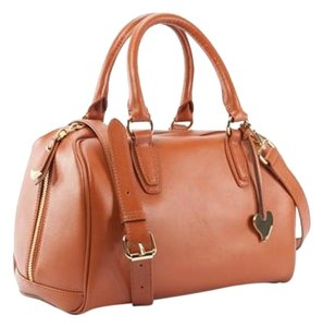 Cuore & Pelle Premium Leather Gold Plated Zipper Detachable Strap Classic Packaging Satchel in Cognac