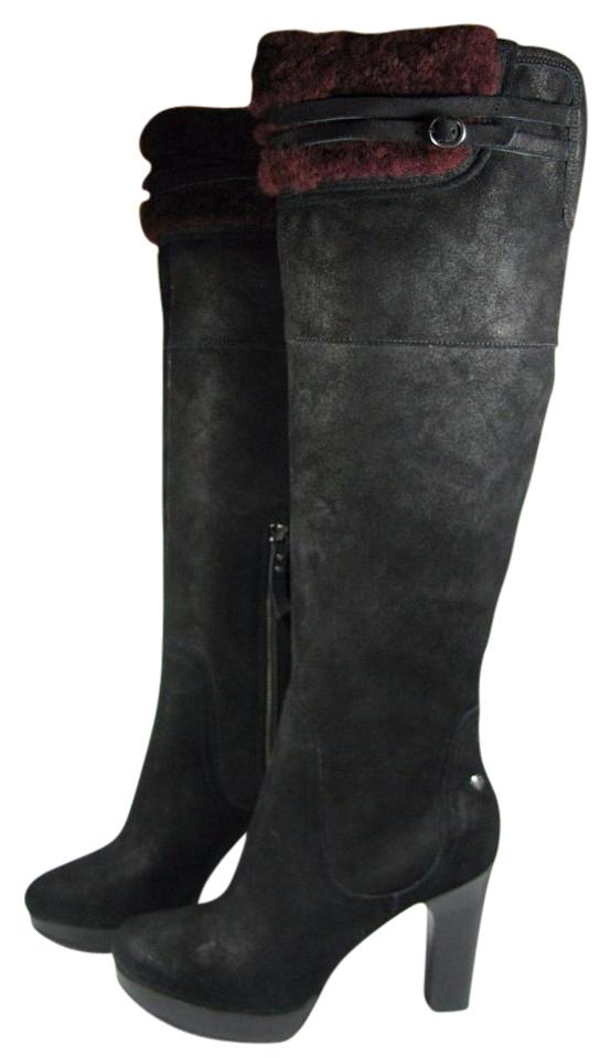 d478e9a6ff2 UGG Australia Black New Ophira Suede Bordo Fur Over The Knee Boots/Booties  Size US 7.5 Regular (M, B)