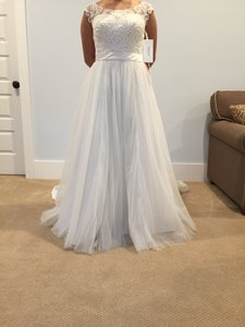David's Bridal Tulle Wedding Dress With Lace Illusion Wg3741 Wedding Dress
