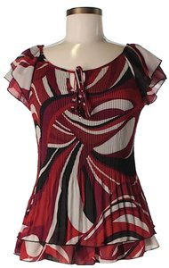 Zac & Rachel Print & Flutter Top Red Black and White