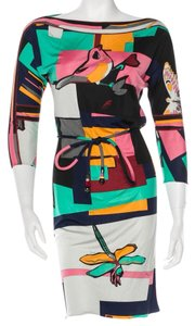 Emilio Pucci Silk Abstract Belted Longsleeve Animal Print Dress