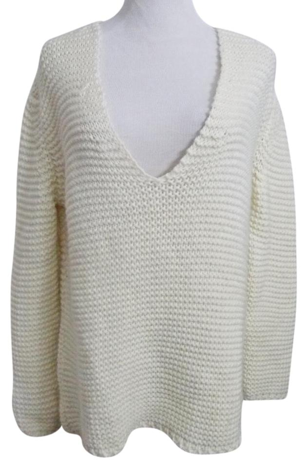 dfbb1ca994905d Zara Knit Chunky V Neck Off White Cream Sweater - Tradesy