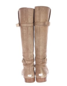Jimmy Choo Leather Knee High Round Toe Gold, Beige Boots