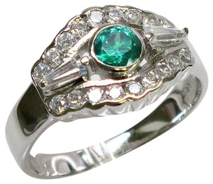9.2.5 Gorgeous green emerald and white sapphire Art Deco ring size 7