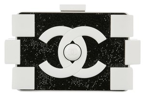 Chanel Lego Rare White Lucite/Black Swarovski crystals Clutch