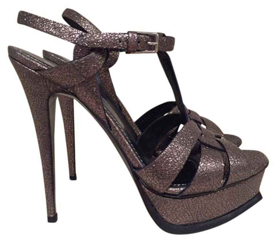 ffaa218ee1 Saint Laurent Grey Tribute Yves Ysl 105 Leather Pumps Size US 11.5 ...