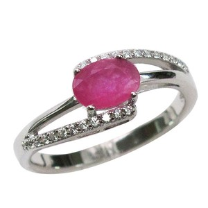 9.2.5 Gorgeous African ruby and white sapphire cocktail ring size 6