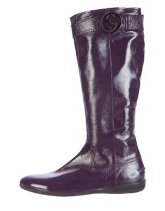 Gucci Patent Leather Knee-high Purple Boots