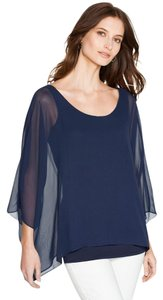White House | Black Market Dolman Sleeve Batwing Flowy Chiffon Tunic Top navy blue