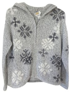 Talbots Holiday Zip Front Snowflake Sweater