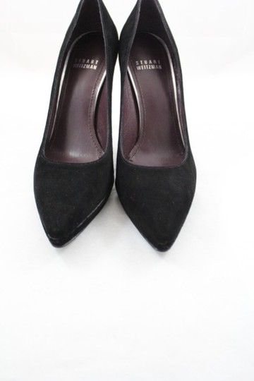 Stuart Weitzman Pointed Toe Heel Suede Leather Platform Padded Narrow Black Pumps