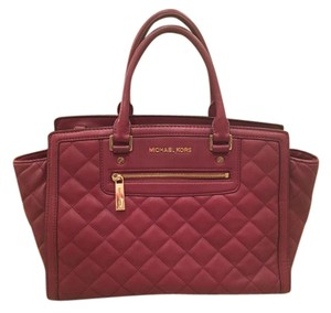 Michael Kors Leather Quilted Tote in Burgundy