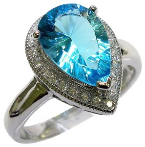 9.2.5 Gorgeous pear shape blue topaz cocktail ring size 8