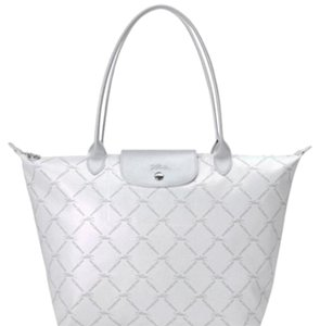 Longchamp Tote in White And Silver