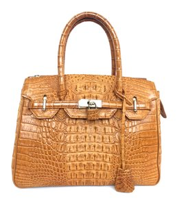 River Crocodile Gold Crocodile Kelly-style River Satchel in Butterscotch