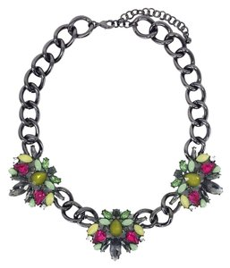 Other Green & Pink Jeweled Chain Necklace