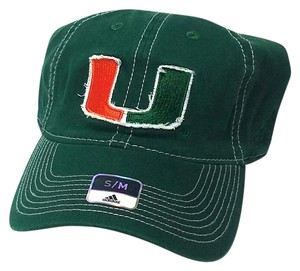 adidas Miami Hurricanes Adidas Unstructured Green Flex Fit Fitted Hat Cap S/M