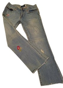 jeans Embroidered Distressed Straight Leg Jeans-Distressed