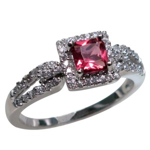 9.2.5 Beautiful red ruby and white sapphire cocktail ring size 7